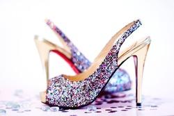 Fashion sexy high heel shoes on white studio background