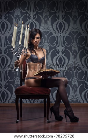 Fashion shoot of beautiful woman in luxury lingerie