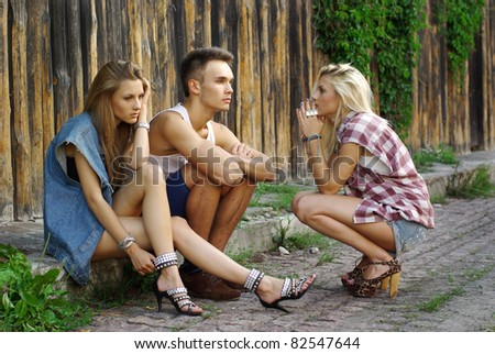 Fashion Shot Of A Trendy Boy And Girls Stock Photo 82547644 ...