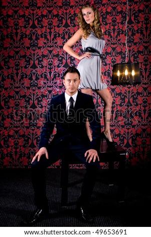 Fashion shot of a Young Couple a trendy european couple