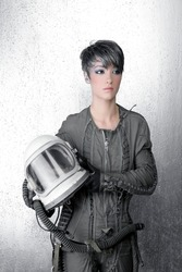 fashion silver woman spaceship astronaut helmet space metaphor