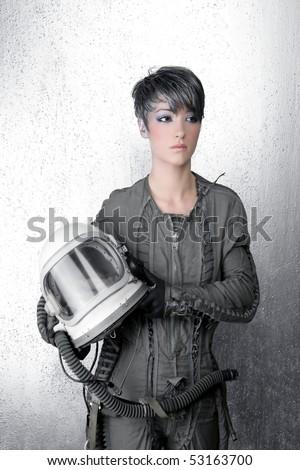 fashion silver woman spaceship astronaut helmet space metaphor - stock photo