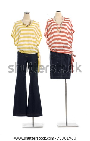 Fashion Striped shirt on mannequin isolated