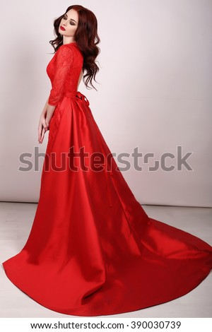 Fashion Interior Photo Of Gorgeous Young Woman With Dark Hair In