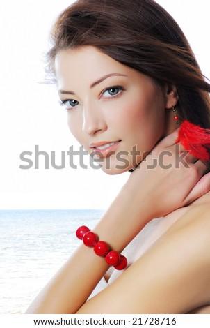 Fashion studio shot of beautiful woman with sexy eyes - stock photo