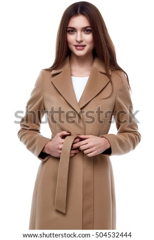 Fashion style catalog of autumn spring collection outerwear natural wool coat for woman sexy lady glamor model design beautiful cute face mode vogue jacket brunette hair elegant  luxury  - Shutterstock ID 504532444