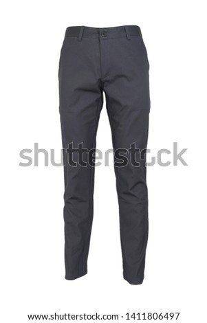 fashion, style concept -Chino pants isolated on white background, dark gray color Foto stock ©