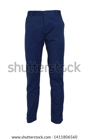 fashion, style concept -Chino pants isolated on white background, light navy color Foto stock ©