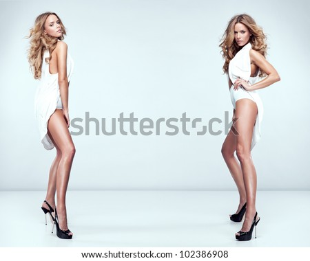 fashion style photo of beautiful sexy twins