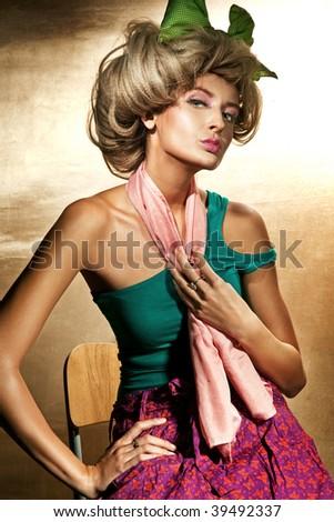 Fashion style photo of blond beauty