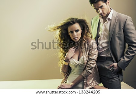 Fashion style photo of sexy couple