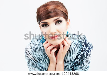Fashion style woman portrait in asian clothes isolated over white background. - stock photo