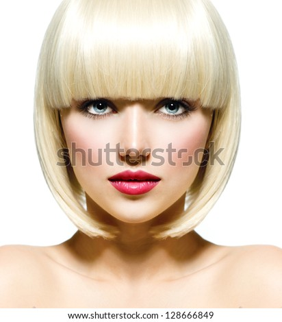 Fashion Stylish Beauty Portrait with White Short Hair. Beautiful Girl's Face Close-up. Haircut. Hairstyle. Fringe. Professional Makeup. Make-up. Vogue Style Woman. Isolated on a White Background. - stock photo