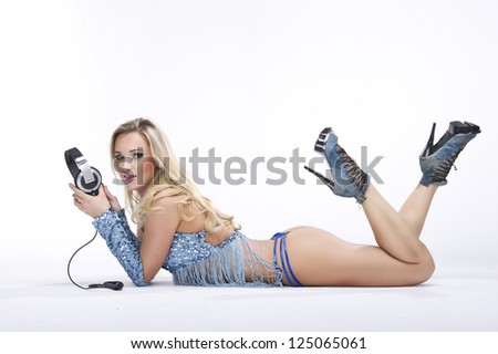 fashion stylish portrait yong women dj on white background