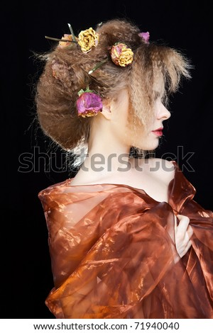 fashion stylized portrait woman whit roses in her hair