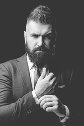 Fashion suit. Rich bearded man dressed in classic suits. Luxury mens clothing. Man in suit. Businessman confidence. Classical costume. Mens Fashion