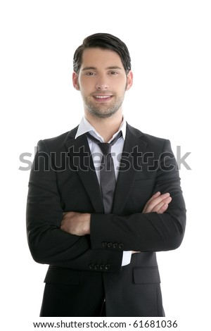 Fashion trendy elegant young black suit man posing looking camera - stock photo