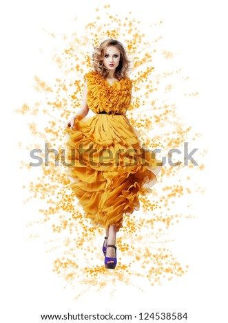 Fashion Trendy Woman in Yellow Summer Dress - Modern Style