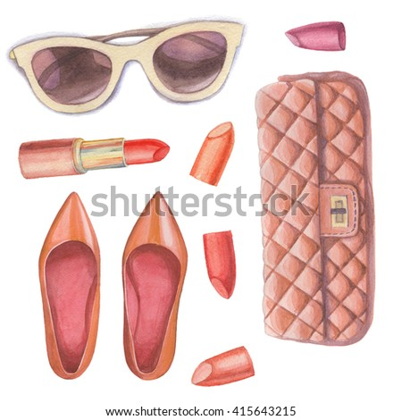 Fashion wardrobe objects set. Hand drawn watercolor clothing and accessories: leather skirt, blouse, hat, bracelet, earrings, scarf, bag, sunglasses, boots. Vector girly look - Shutterstock ID 415643215