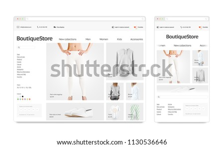 Fashion web store adaptivity template mock up set isolated, 3d rendering. Clothing web shop page interface navigator mockup. Internet browsers website template. Websstore screen for computer display