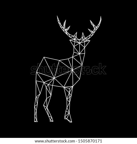 Fashion white geometric contour of a deer on a dark background. Minimalism in the style of trigonometry.