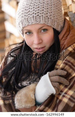 Fashion winter woman cover in blanket countryside natural brown