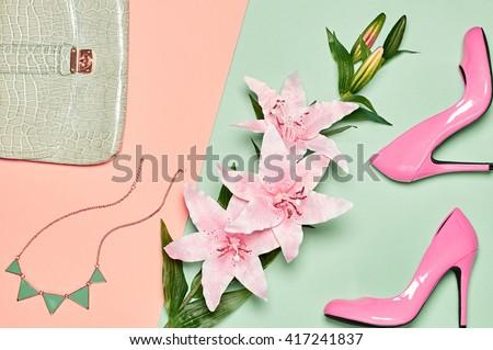 Fashion woman accessories set. Glamor heels, stylish handbag clutch and summer lily flowers. Elegant trendy girl. Unusual creative look. Vanilla pastel Lady outfit