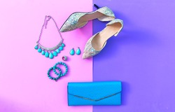 Fashion woman accessories set. Trendy fashion shoes heels, stylish handbag clutch, necklace, bracelet and ring. Lifestyle Concept.