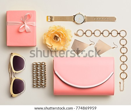 Fashion. Woman Accessories Spring Set. Trendy Watch, Summer Sunglasses, Glamour Pink Clutch. Flower. Layout. Luxury lady. Vanilla Color #774869959