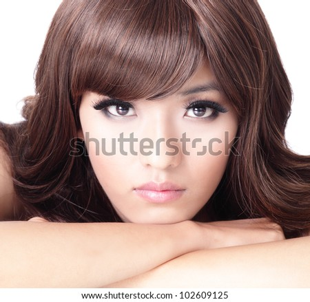 Fashion woman face portrait close up with white background, model is a asian beauty