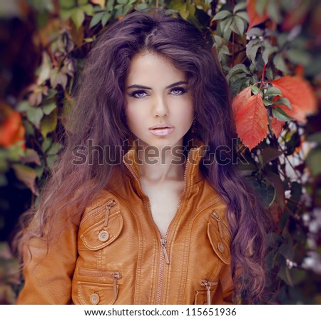 Fashion Woman Hair Style and Make up. Autumn Style. Autumn girl.