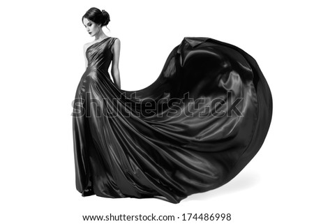 fashion woman in fluttering...