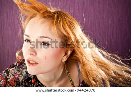 fashion woman on a purple background