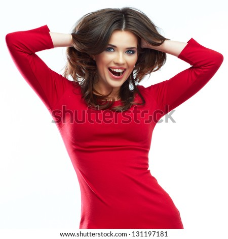 Fashion woman portrait. Female young model. Studio isolated , white background . Red dress .