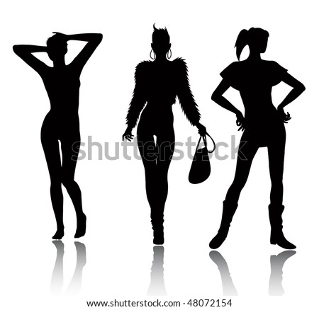Fashion woman silhouette set (in the gallery also available vector version of this image) - stock photo