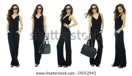 Fashion woman wearing black dress with fashion sunglasses and handbag ,collage