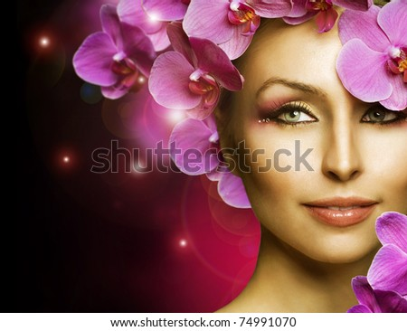 Fashion  Woman with Flowers over black