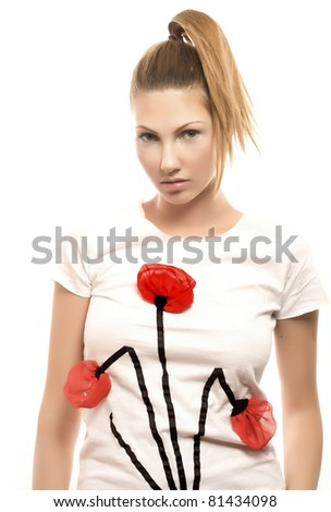 fashion woman with jewelry on light background shirt