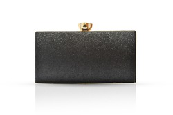 Fashion women black handbag clutch isolated on white background, with clipping path.