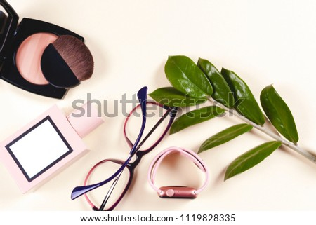 Fashion women clothing set and accessories. Vanilla Pastel colors. Summer street style. Trendy glasses, top, perfume, powder, watches, flowers. Summer lady. Creative urban overhead summer top view #1119828335