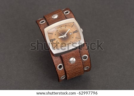 Fashion Wristwatch with Large Leather Strap