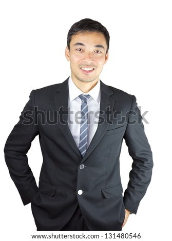 Fashion young businessman black suit isolated on white background