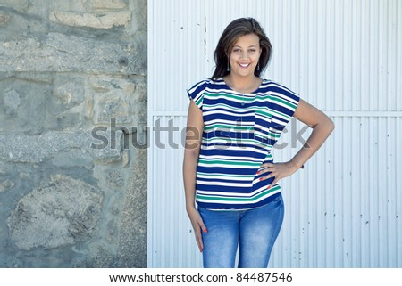 Fashion young girl outdoor session - stock photo