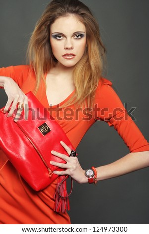 fashion young woman with bag