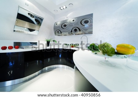 fashionable and beautiful kitchen in a modern apartment