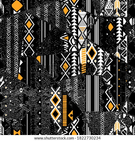 Fashionable and trendy  collage seamless pattern with  tribal pattern. Grunge texture. Bohemian style print. motif isolated