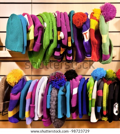 Fashionable and warm winter hats in two rows