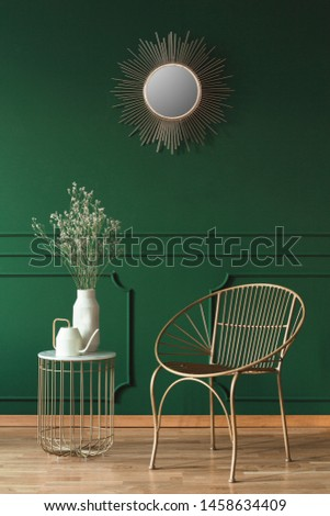 Fashionable armchair in trendy living room interior in contemporary apartment #1458634409