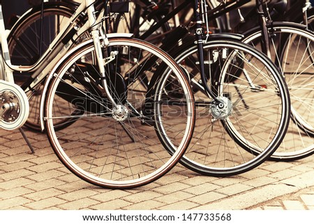 Fashionable bicycle wheels - stock photo