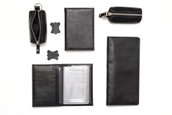 Fashionable black leather male accessories isolated on white background. Male accessories. Top view, flat lay